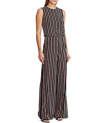 bc68c40934b9 Lauren Ralph Lauren Varsity Stripe Matte Jersey Sleeveless Button-Trim  Jumpsuit