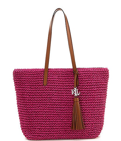 Lauren Ralph Lauren Whitney Crochet Straw Medium Tote Bag