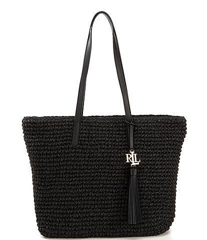 Lauren Ralph Lauren Whitney Crochet Straw Medium Tote Bag
