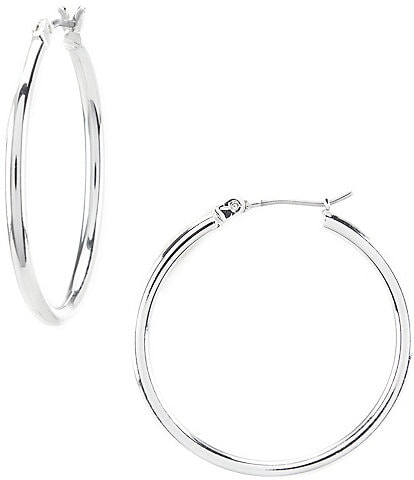 Lauren Ralph Lauren Silver Thin Hoop Earrings