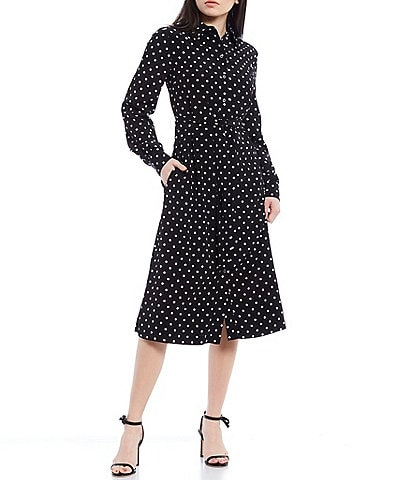 LDT Adrienne Dotted Long Sleeve Belted Midi Dress