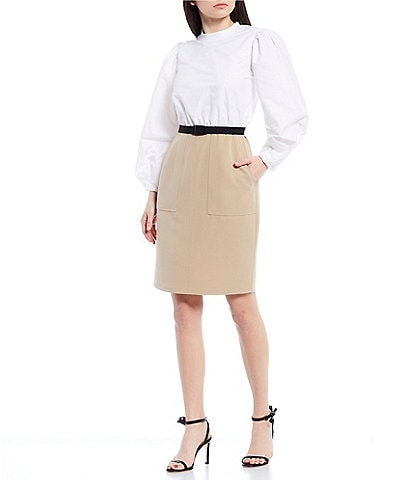 LDT Alecia Two-Tone Long Puffed Sleeve Belted Stretch Crepe Dress