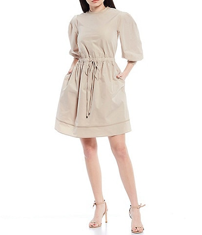 LDT Anna 3/4 Sleeve Drawstring Puff Dress