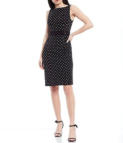 LDT Annemarie Stretch Crepe Dotted Sleeveless Dress