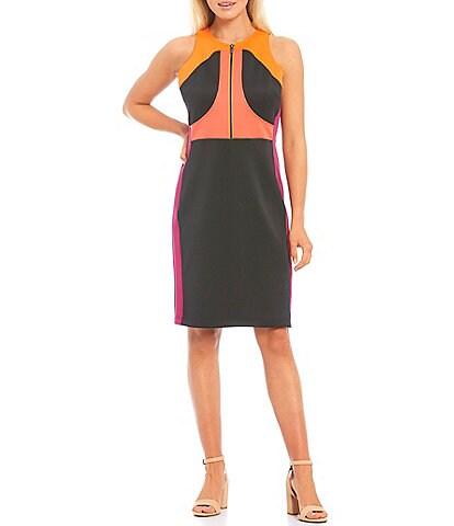LDT Blaine Colorblock Sleeveless Scuba Sheath Dress