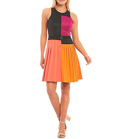 LDT Brielle Sleeveless Colorblock Pleated Racer Dress