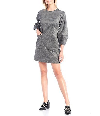 LDT Grace Lantern 3/4 Sleeve Crew Neck Mini Dress