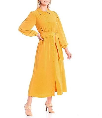LDT Lantern Button Down Collar Puff Long Sleeve Midi Gwen Shirt Dress