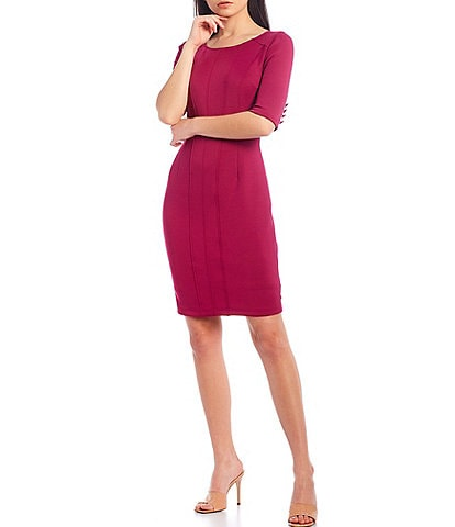 LDT Talia Sheath Boat Neck 3/4 Sleeve Dress