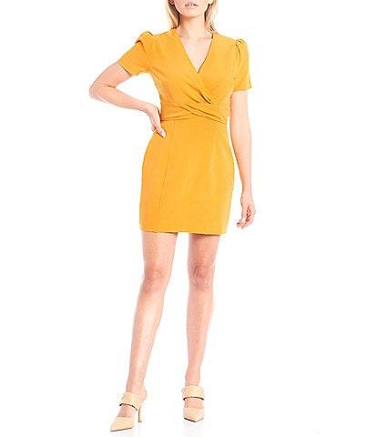 LDT Twist Front V-Neck Short Sleeve Sheath Gianna Dress
