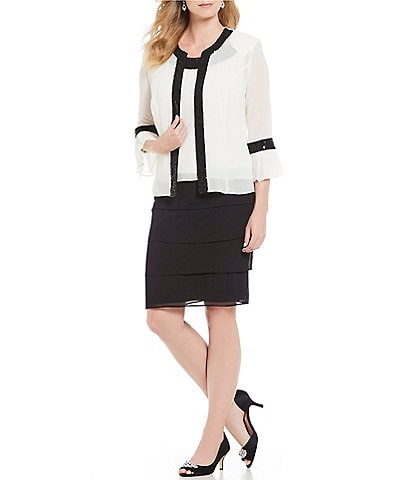 Le Bos 2-Piece Colorblock Bell Sleeve Tiered Jacket Dress