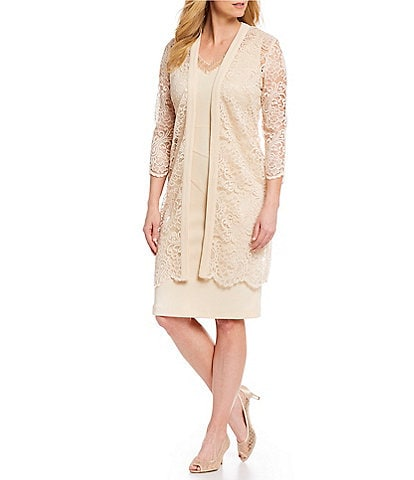 Le Bos 2-Piece Lace Jacket Stretch Dress