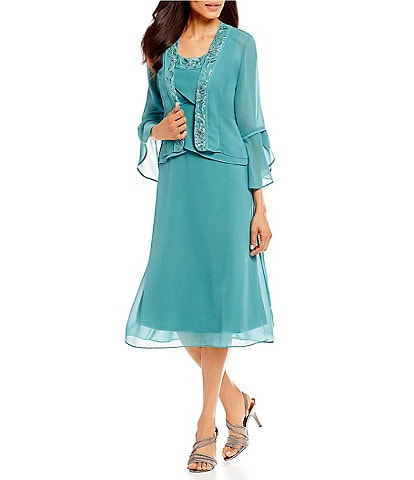 Le Bos 2-Piece Tulip Bell Sleeve Embroidered Chiffon Jacket Dress