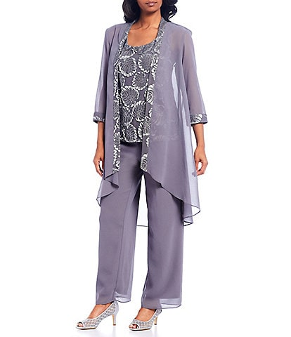 Le Bos 3-Pice Embroidered Trim Duster Pant Set