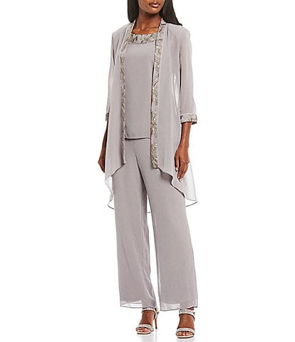 Le Bos 3-Piece Embroidered Sequin Trim Pant Set
