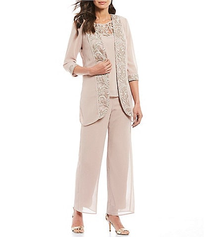 Le Bos 3-Piece Embroidered Trim Duster Pant Set