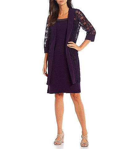 Le Bos 3/4 Sleeve Duster 2-Piece Jacket Dress