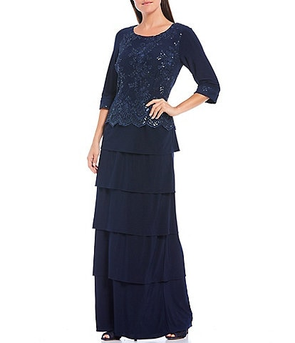 Le Bos 3/4 Sleeve Tiered Sequin Embroidered Gown
