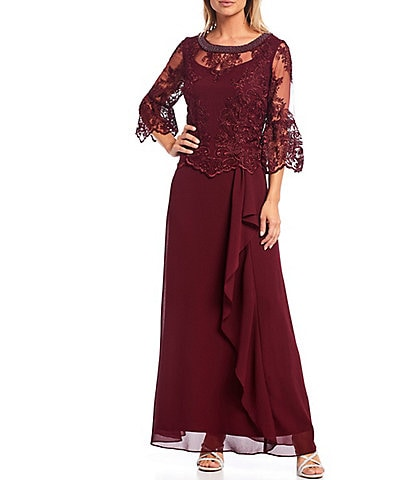 Le Bos A-Line 3/4 Bell Sleeve Lace Popover Cascade Long Gown