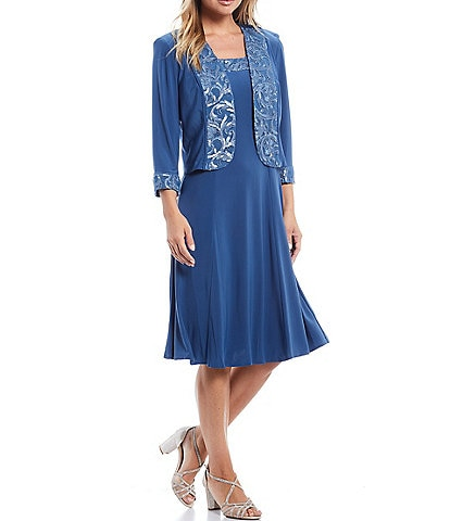 Le Bos A-Line Jersey Embroidered Scoop Neck 3/4 Sleeve 2-Piece Jacket Dress