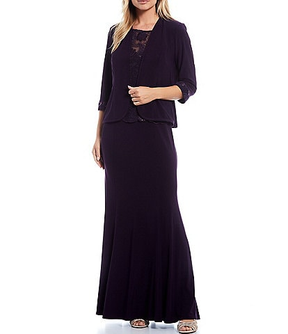 Le Bos Embroidered Jersey Jewel Neck Sleeveless Long 2-Piece Jacket Dress