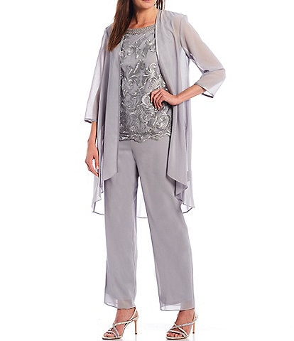 Le Bos Embroidered Mesh Georgette 3-Piece Duster Pant Set