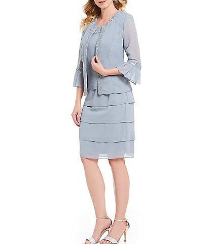 Le Bos Embroidered Pebble Georgette Tiered 2-Piece Jacket Dress