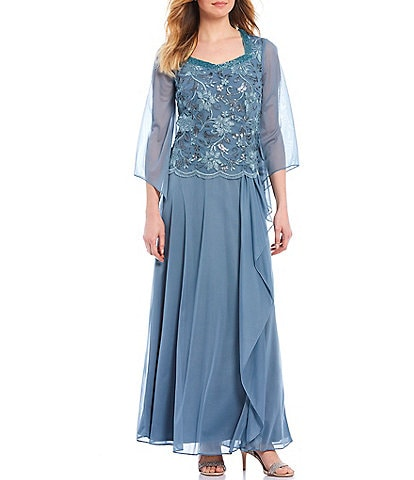 Le Bos Embroidered Sequin Bodice Square V-Neck 3/4 Sleeve Gown