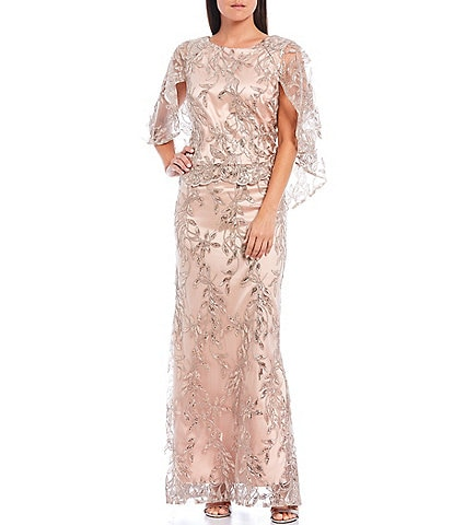 Le Bos Embroidered Sequin Capelet Long Gown