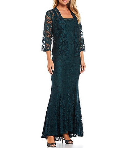 Le Bos Embroidered Stretch Lace 3/4 Sleeve Square Neck 2-Piece Jacket Dress
