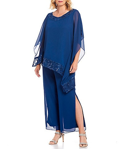 Le Bos Embroidered Trim Two Piece Georgette Pant Set