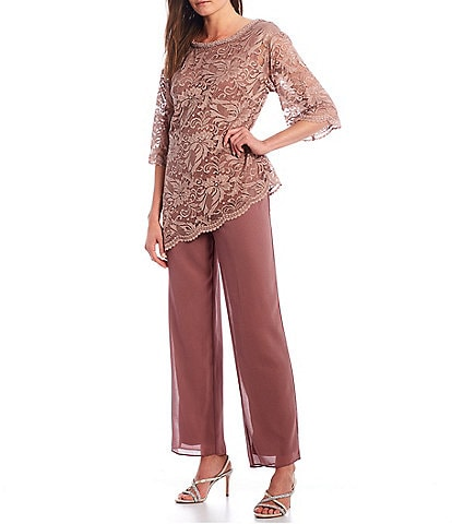 Le Bos Floral Lace 2-Piece Pant Set