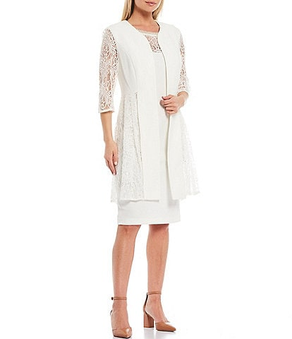 Le Bos Lace Panel 2 Piece Stretch Knit Duster Jacket Dress
