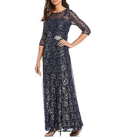 Le Bos Metallic Lace Peplum 3/4 Sleeve Gown