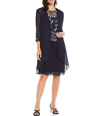 Le Bos Pebble Georgette Embroidered 2-Piece Jacket Dress