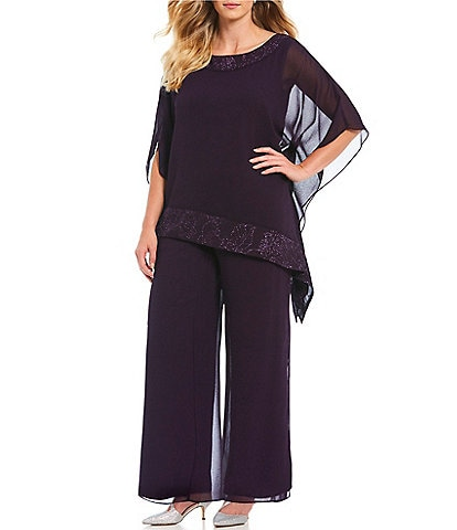 Le Bos Plus 2-Piece Glitter Trim Pant Set