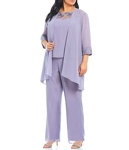 Le Bos Plus Size Chiffon Embroidered 3-Piece Pant Set