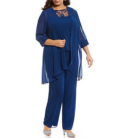 Le Bos Plus Chiffon Embroidered 3-Piece Pant Set