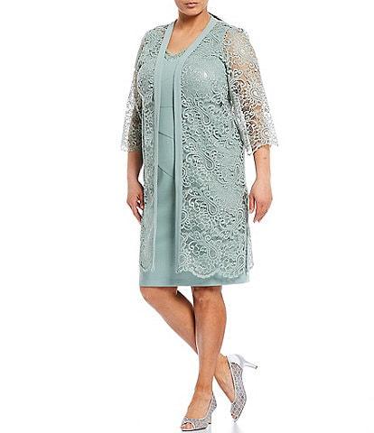 Le Bos Plus Size 2-Pice Lace Jacket Dress