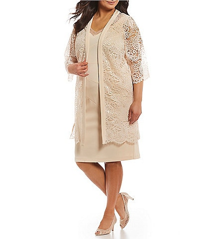 9c531d4a1a1 Le Bos Plus Size 2-Pice Lace Jacket Dress