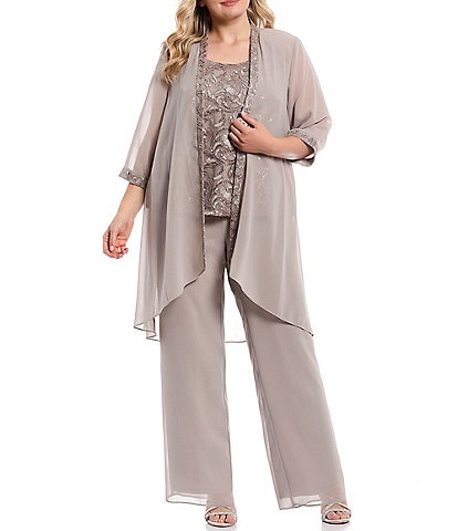 Le Bos Plus Size 3-Pice Embroidered Trim Duster Pantset