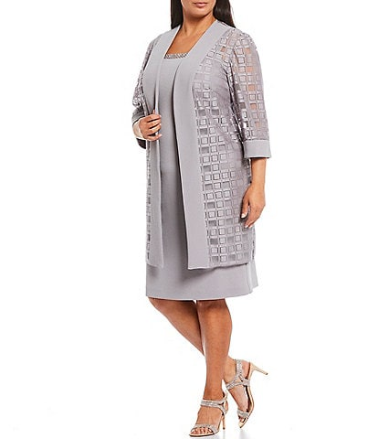 Le Bos Plus Size 3/4 Sleeve Duster 2-Piece Jacket Dress