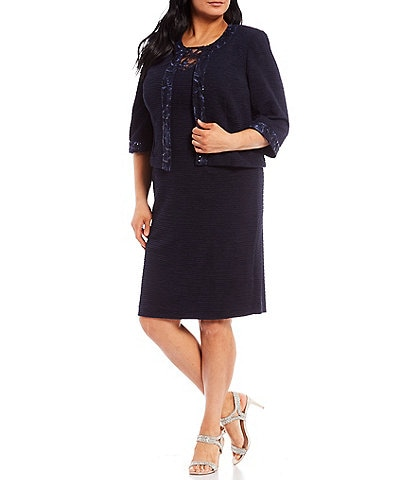 Le Bos Plus Size 3/4 Sleeve Embroidered Mesh Trim Textured 2-Piece Jacket Dress