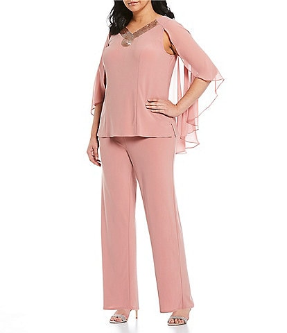 Le Bos Plus Size Embellished V-Neck Capelet Sleeve 2-Piece Pant Set