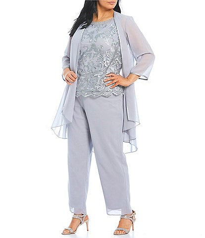 Le Bos Plus Size Embroidered Georgette 3 Piece Duster Pant Set