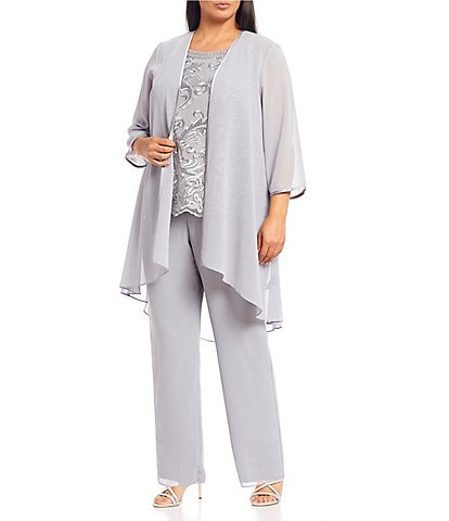 Le Bos Plus Size Embroidered High Low 3 Piece Duster Pant Set