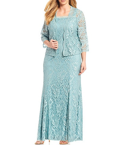 Le Bos Plus Size Embroidered Stretch Lace Square Neck Jacket Dress