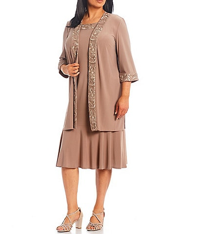 Le Bos Plus Size Round Neck 3/4 Sleeve Embroidered Trim 2-Piece Duster Jacket Dress