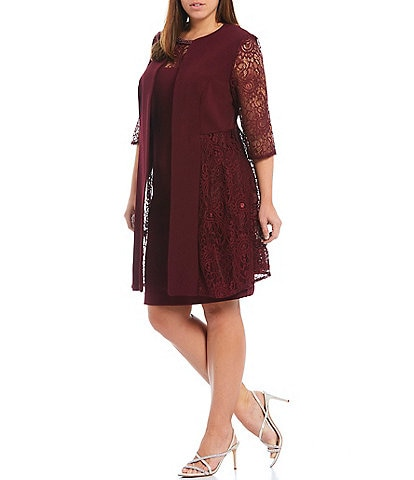 Le Bos Plus Size Round Neck 3/4 Sleeve Lace Panel 2-Piece Stretch Knit Duster Jacket Dress