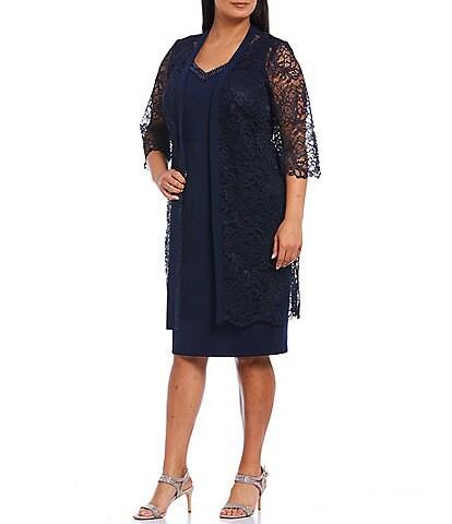 Le Bos Plus Size Scalloped Lace 3/4 Sleeve Jacket Dress